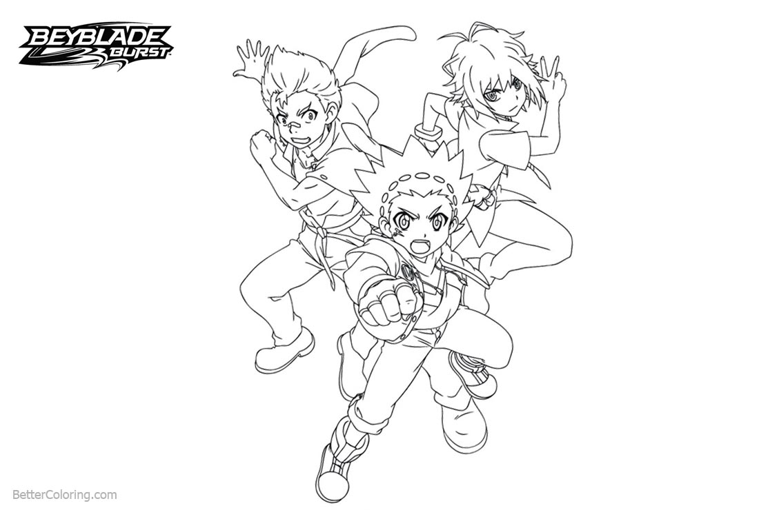 Free Beyblade Burst Characters Coloring Pages printable