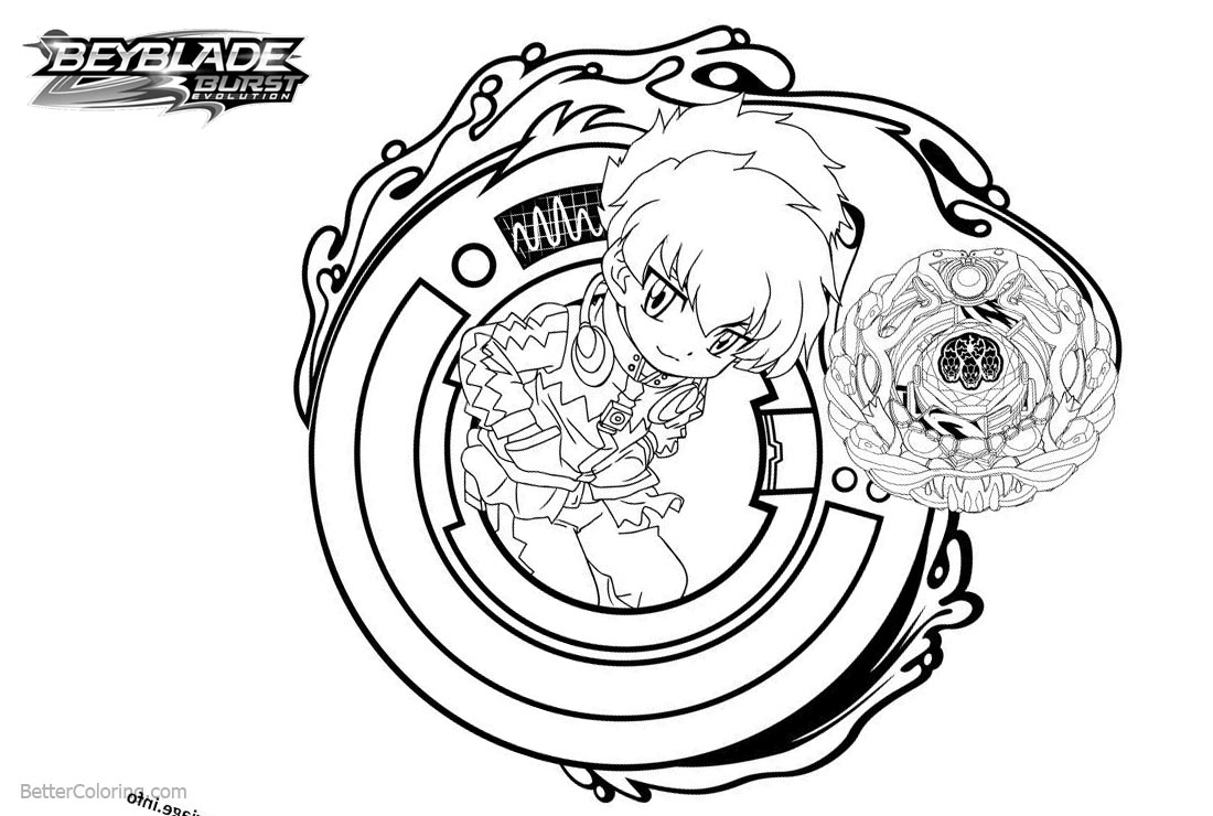Free Beyblade Burst Coloring Pages Beyblade with Butterfly and Snake printable