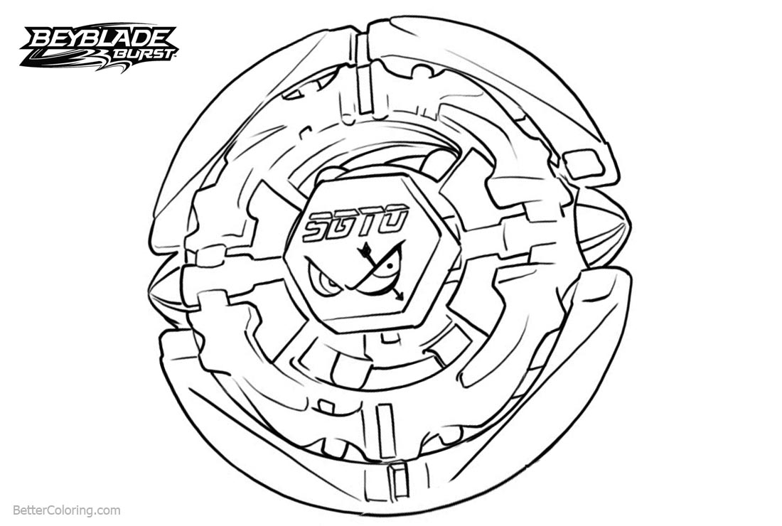 Free Beyblade Burst Coloring Pages Black and White printable