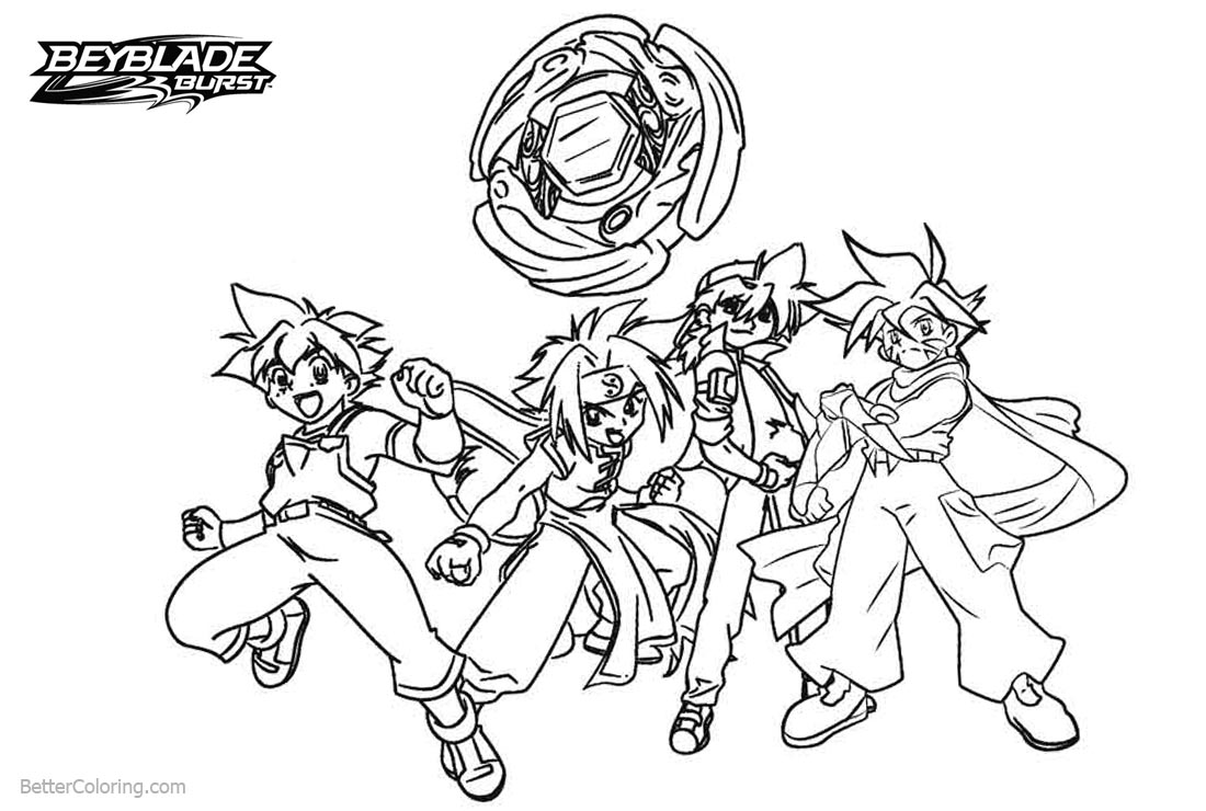 Beyblade Burst Coloring Pages Characters Line Art - Free Printable ...