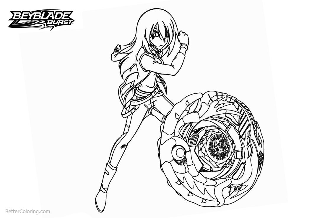 Beyblade Burst Coloring Pages Girl Is Fighting Free Printable
