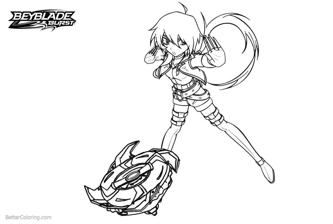 Free Beyblade Burst Coloring Pages Girl with Beyblade printable