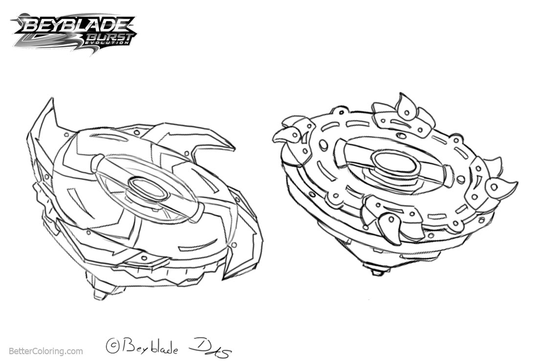 Beyblade Burst Coloring Pages Two Beyblades Free