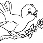 Birds Coloring Pages Cute Bird Singing