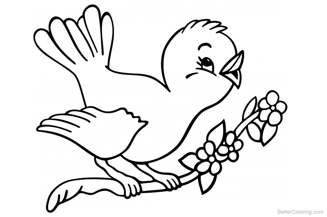 Birds Coloring Pages Cute Bird Singing printable for free