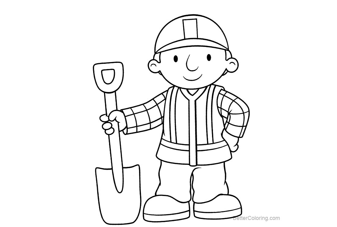 Free Bob The Builder Coloring Pages Black and White printable