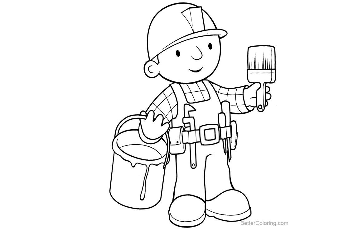 Free Bob The Builder Coloring Pages Bob is Painting printable