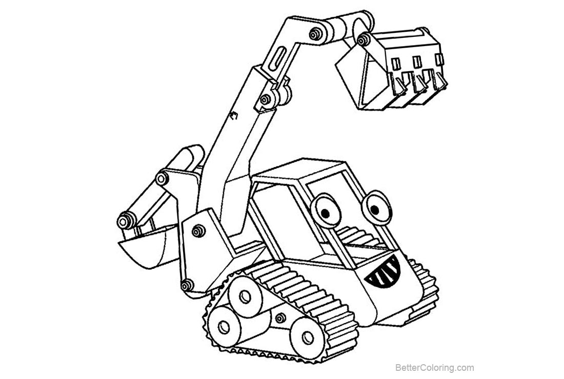 Free Bob The Builder Coloring Pages Excavator is Working printable