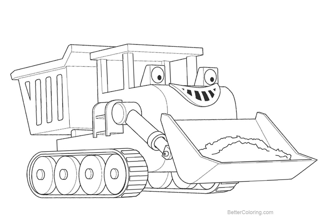 Free Bob The Builder Coloring Pages Line Art printable