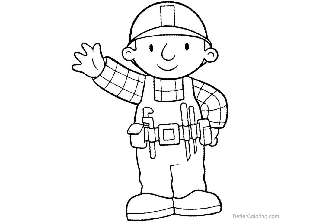 Free Bob The Builder Coloring Pages Say Hi printable