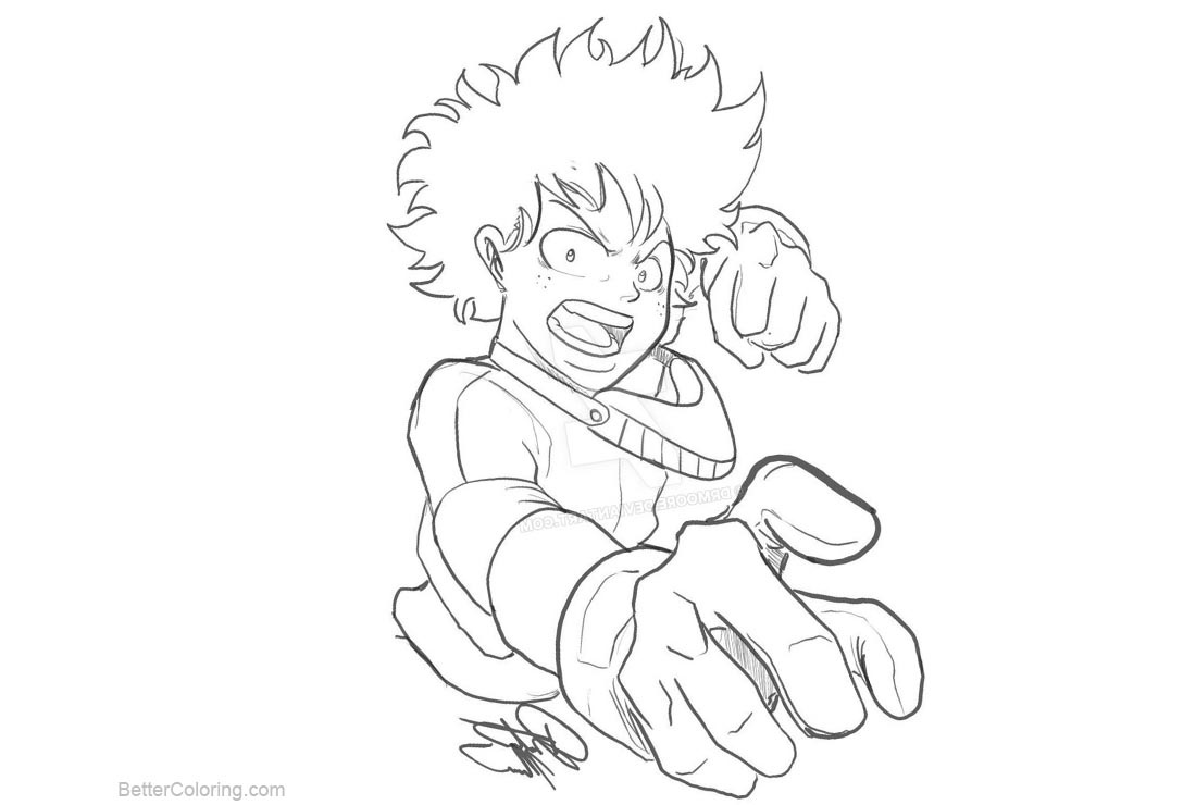 Free Boku No Hero Academia Coloring Pages Izuku Deku Midoriya by drmoore printable
