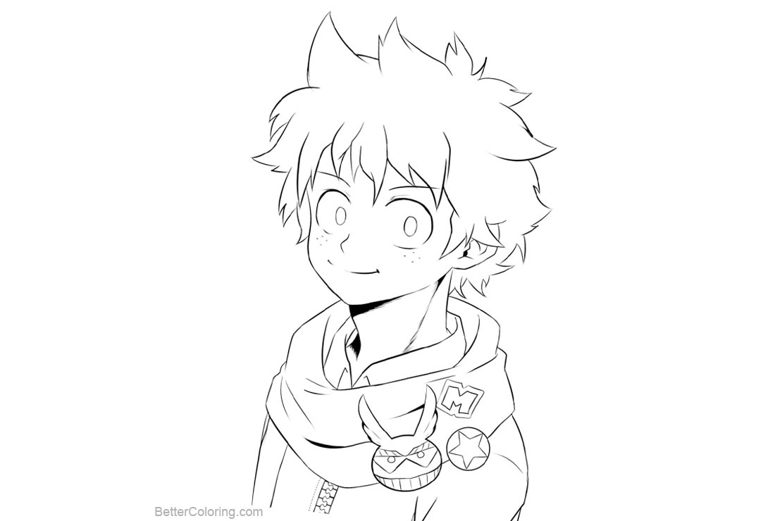 Boku No Hero Academia Coloring Pages Midoriya Izuku Deku