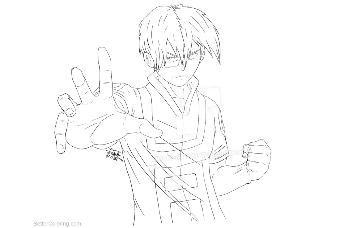 Free Boku No Hero Academia Coloring Pages Todoroki lineart by roninbcg printable