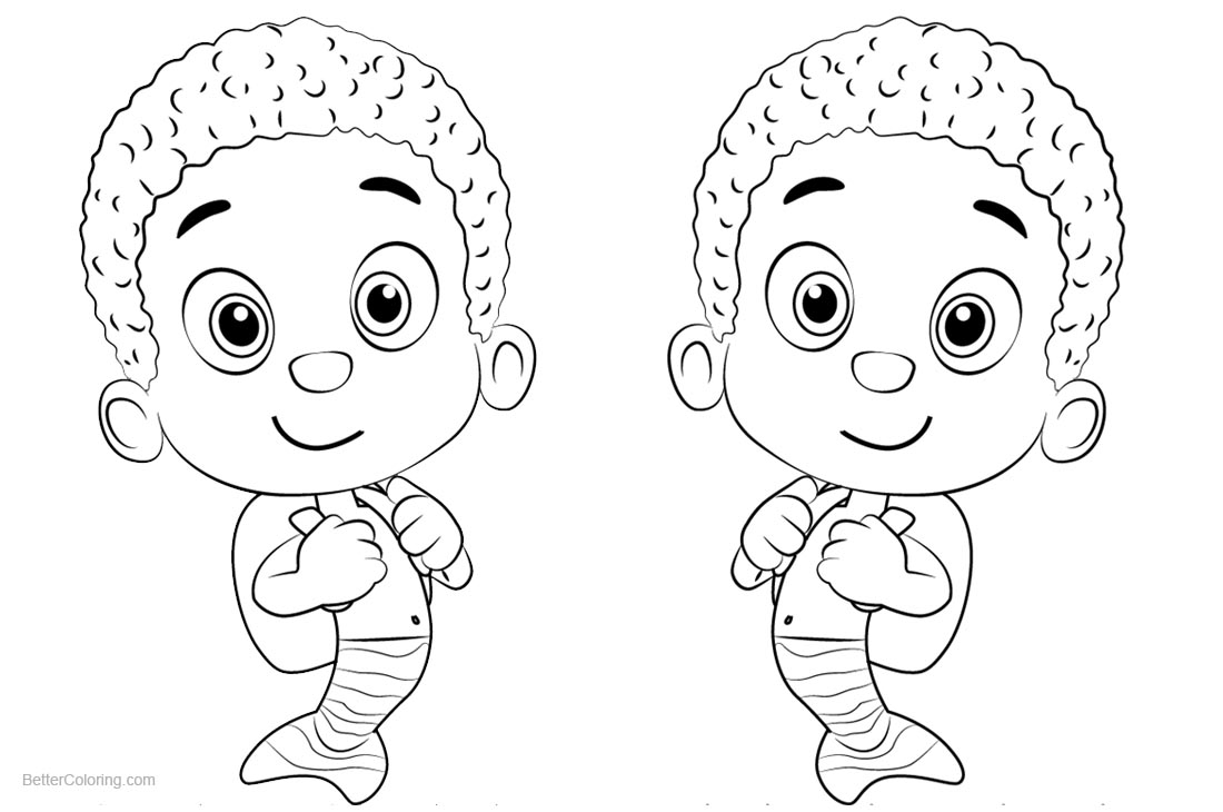 Bubble Guppies Coloring Pages Characters Goby printable for free