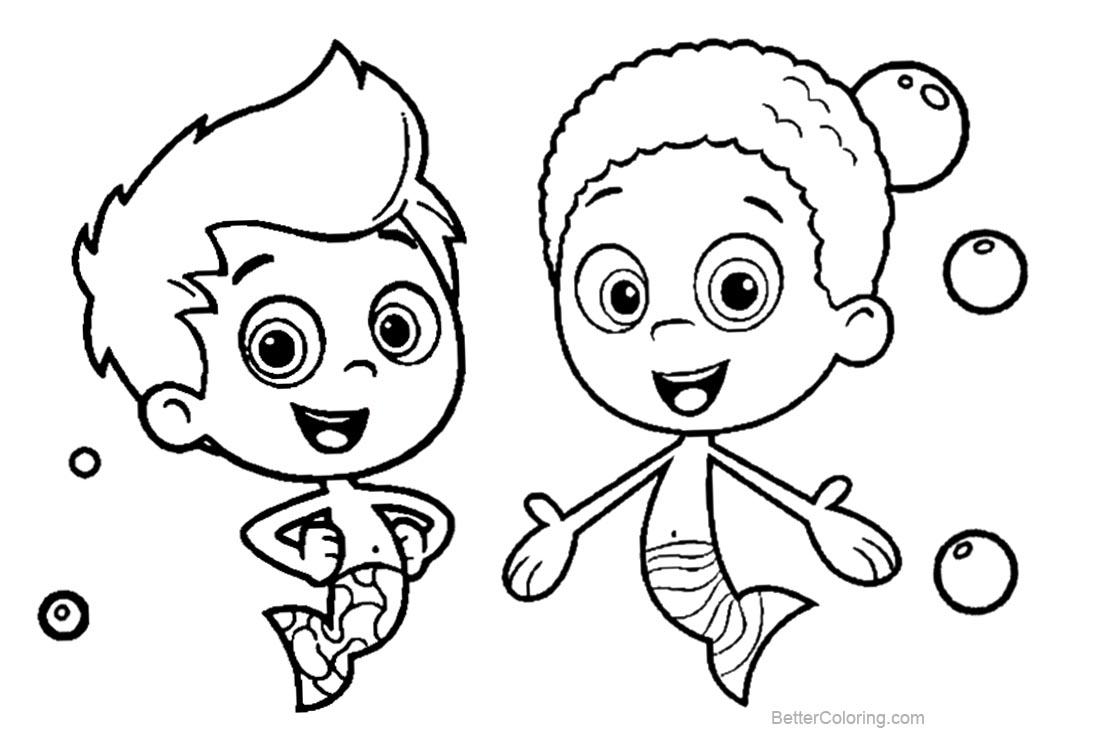 Free Bubble Guppies Coloring Pages Characters Lineart printable