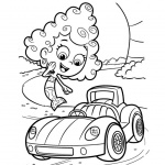 Bubble Guppies Coloring Pages Deema and Car