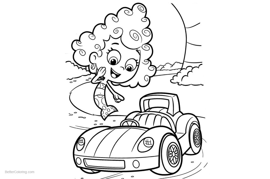 Bubble Guppies Coloring Pages Deema and Car printable for free