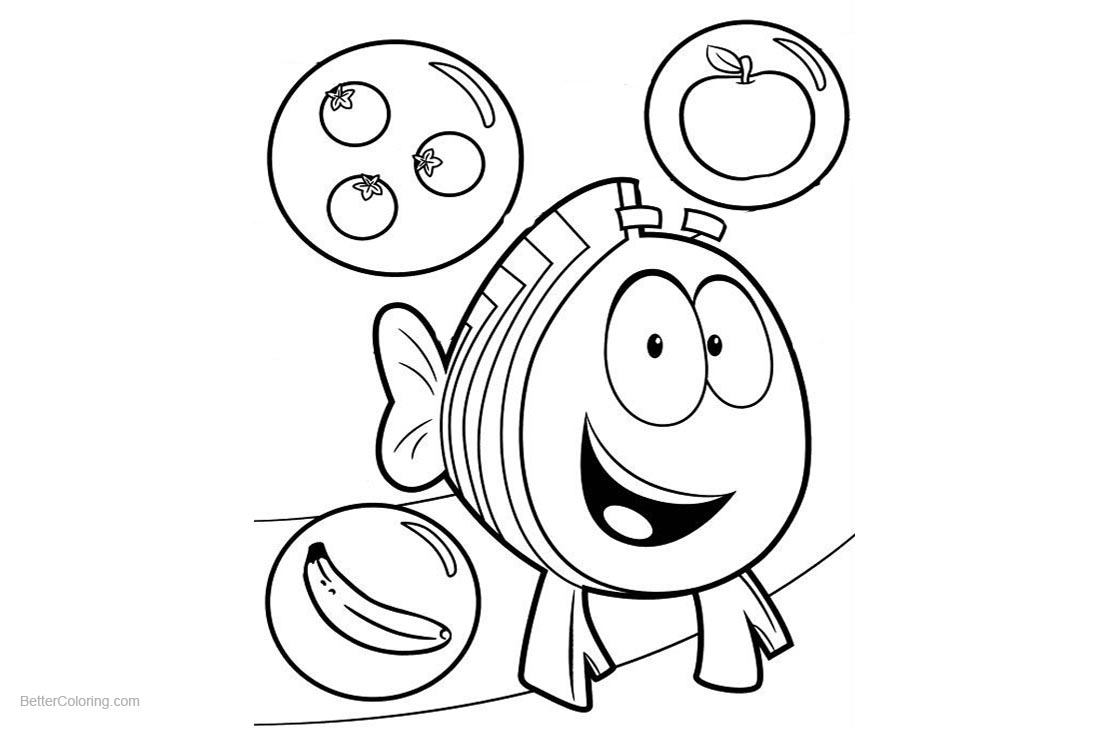 Bubble Guppies Coloring Pages Fruits printable for free