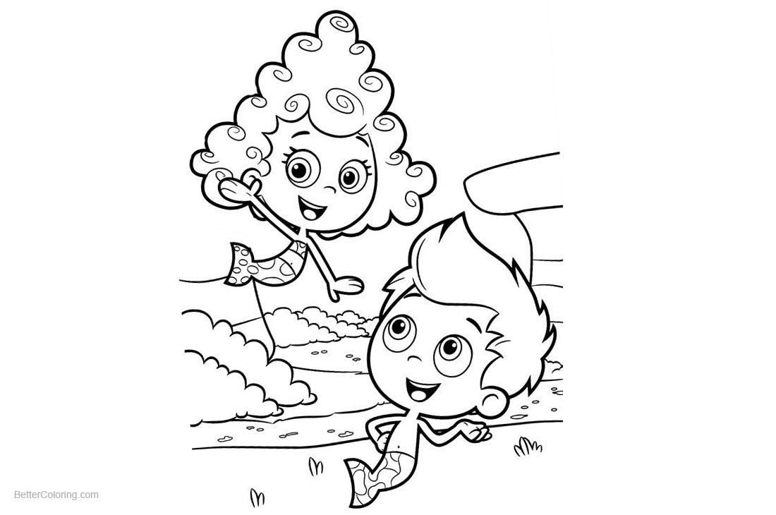 Bubble Guppies Coloring Pages Gil and Deema printable for free