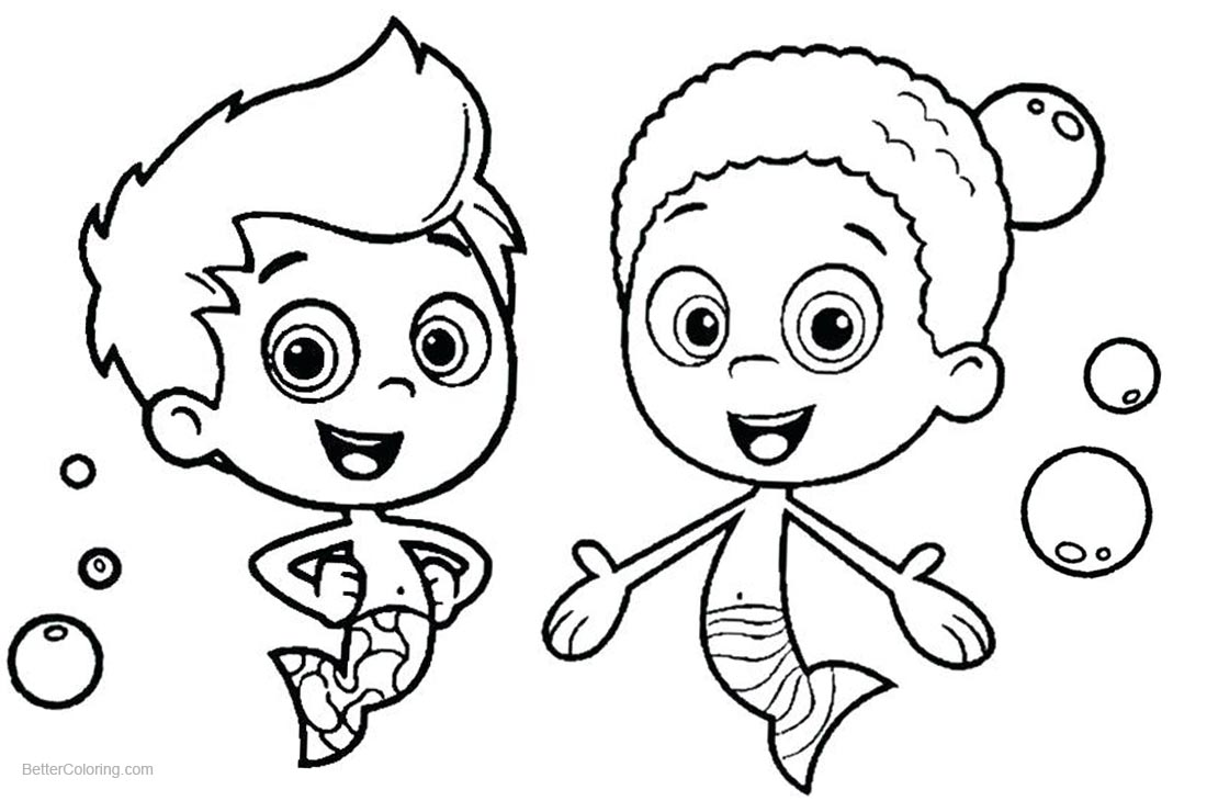 Bubble Guppies Coloring Pages Gil and Goby printable for free