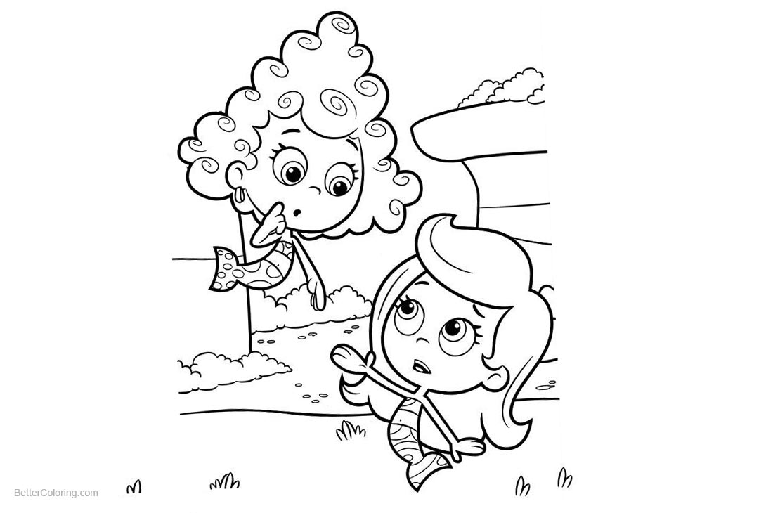 Bubble Guppies Coloring Pages Molly and Deema printable for free
