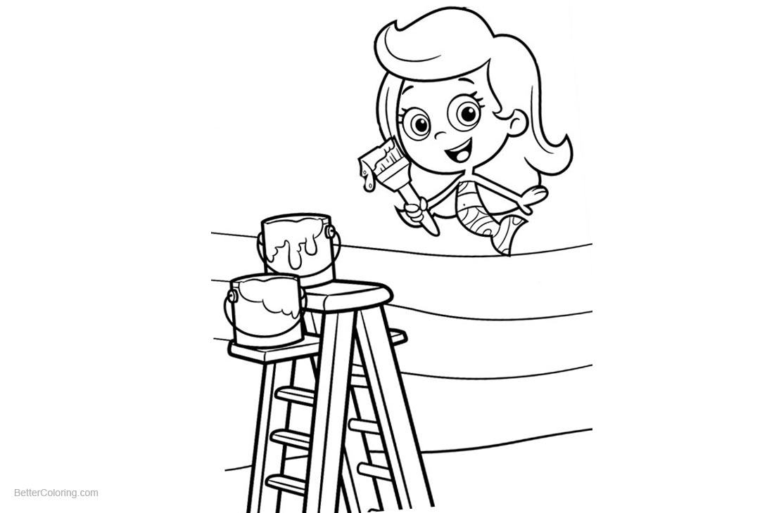 Bubble Guppies Coloring Pages Molly is Painting printable for free