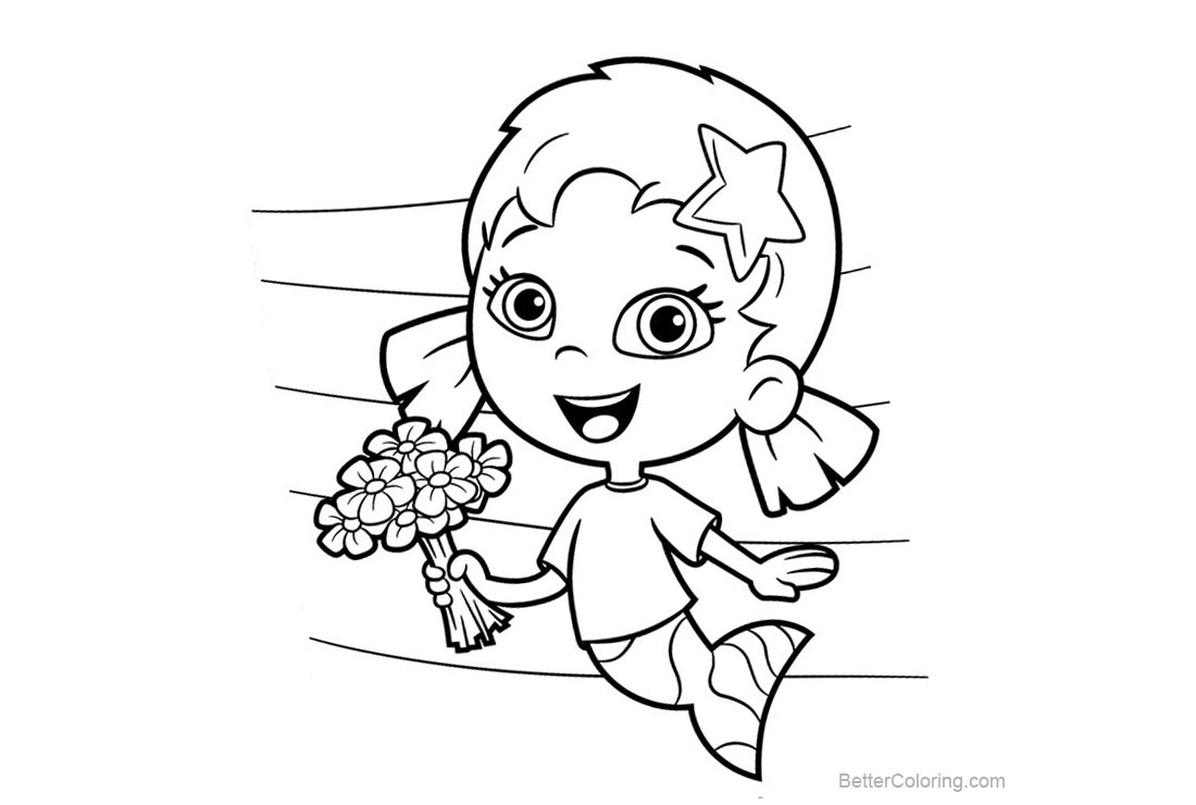 Free Bubble Guppies Coloring Pages Para Line Drawing printable