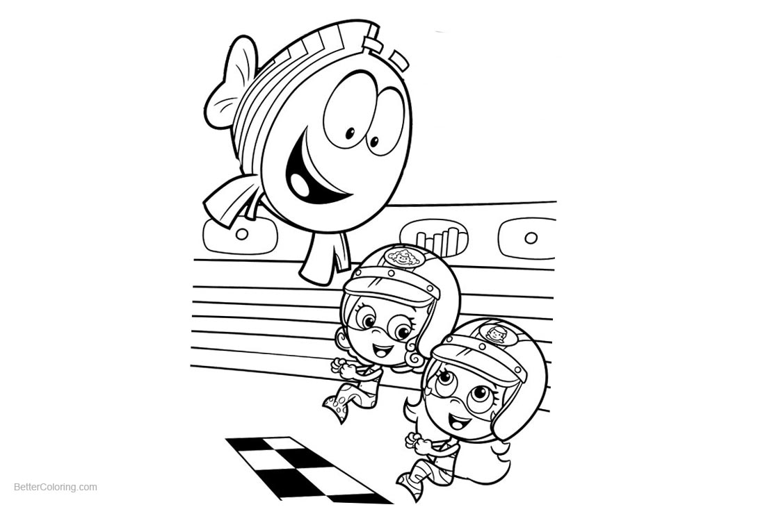 Bubble Guppies Coloring Pages Racing Clipart printable for free