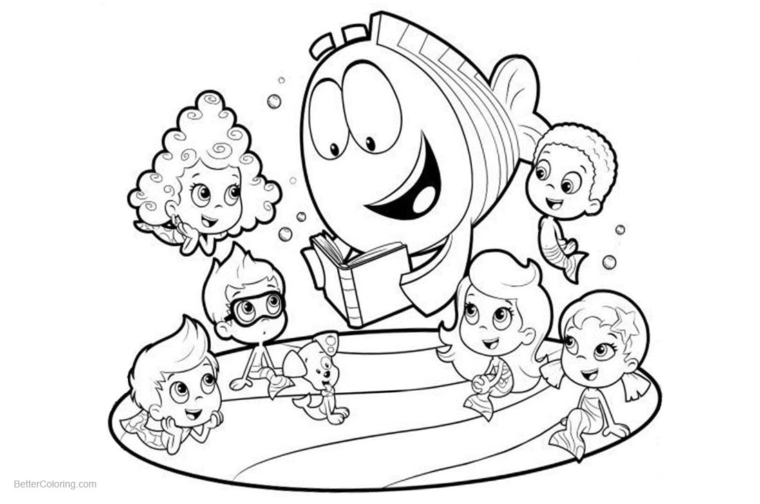 Bubble Guppies Coloring Pages Reading - Free Printable ...