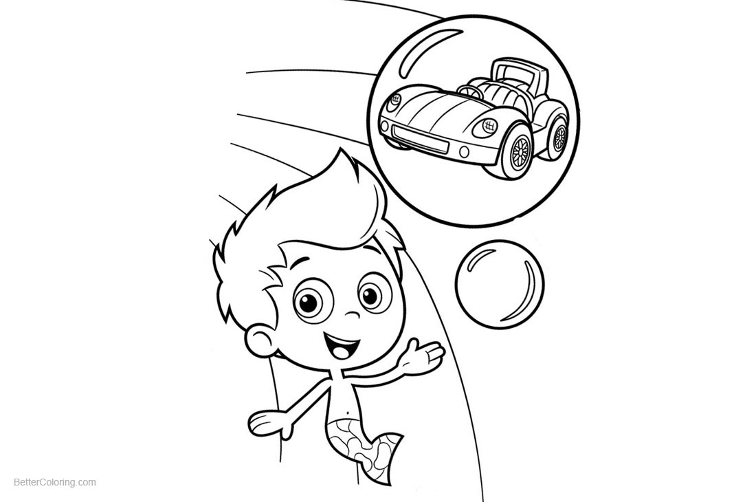 Bubble Guppies Gil Coloring Pages with Car printable for free