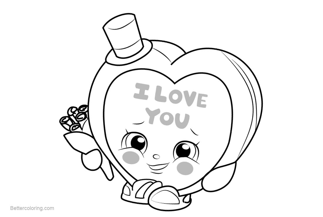 image about Printable Shopkins Coloring Pages called Sweet Kisses Shopkins Coloring Web pages Printable and Free of charge