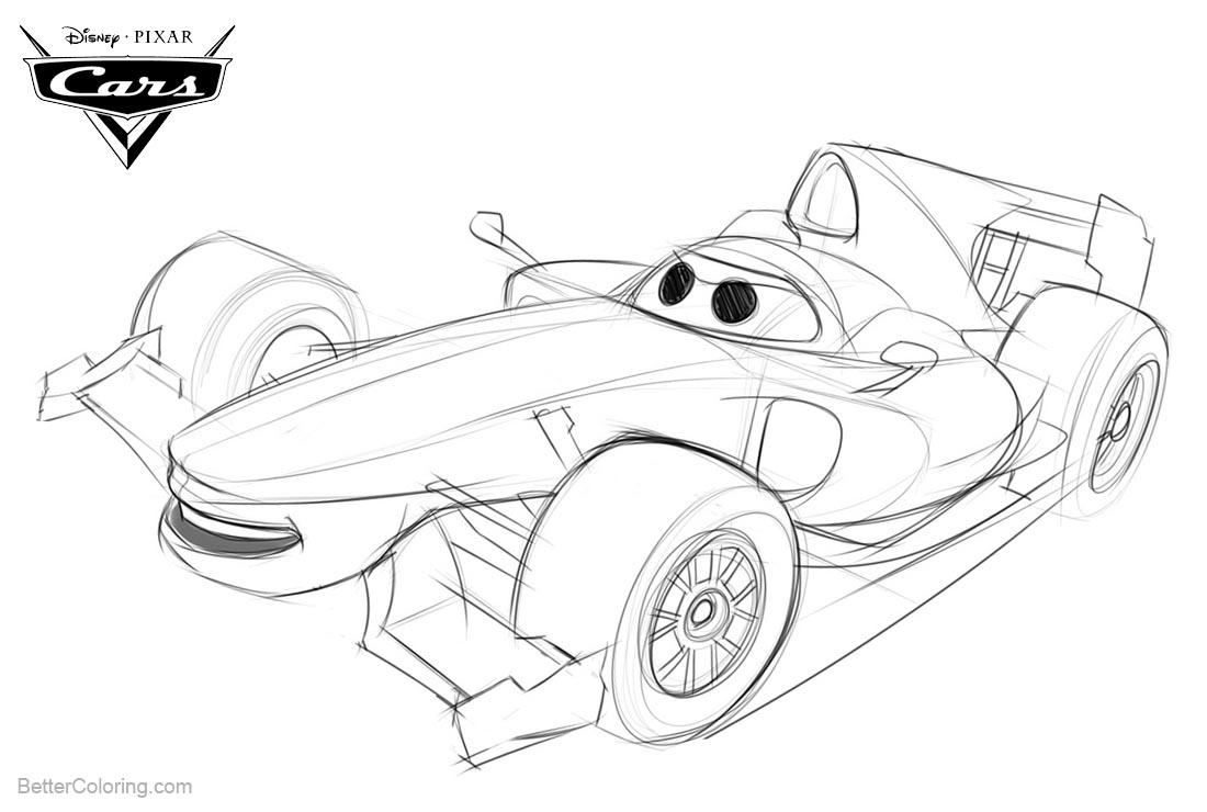 Cars 2 Pixar Coloring Pages Skectch Drawing printable for free