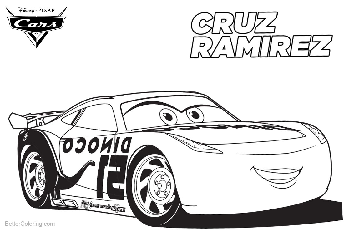 Cars 3 pixar coloring pages cruz ramirez free printable for Cars three coloring pages