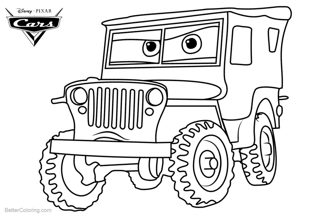 Cars 3 Pixar Coloring Pages Sarge printable for free
