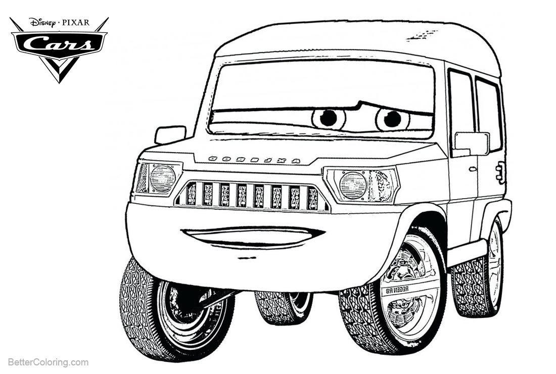 Cars Pixar Coloring Pages Character Lineart printable for free