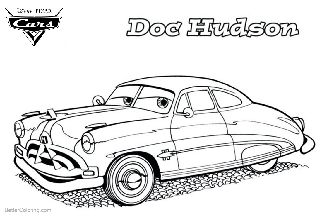 Cars Pixar Coloring Pages Doc Hudson Line Drawing printable for free