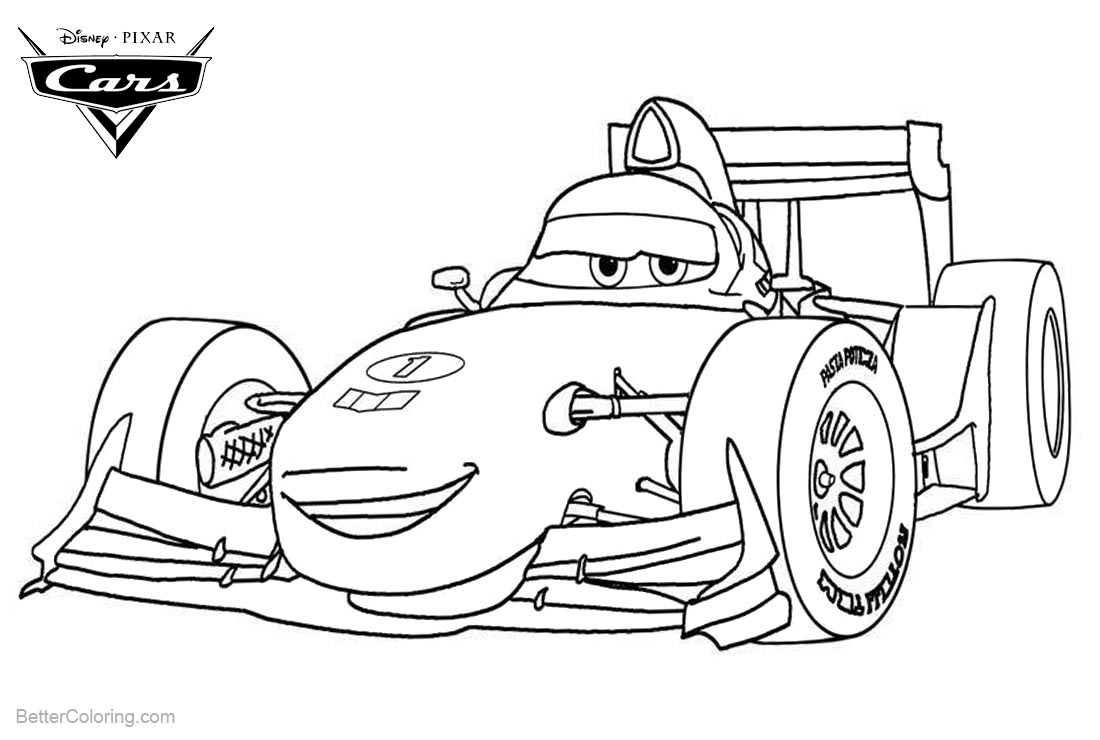 Cars Pixar Coloring Pages F1 Sports Car printable for free