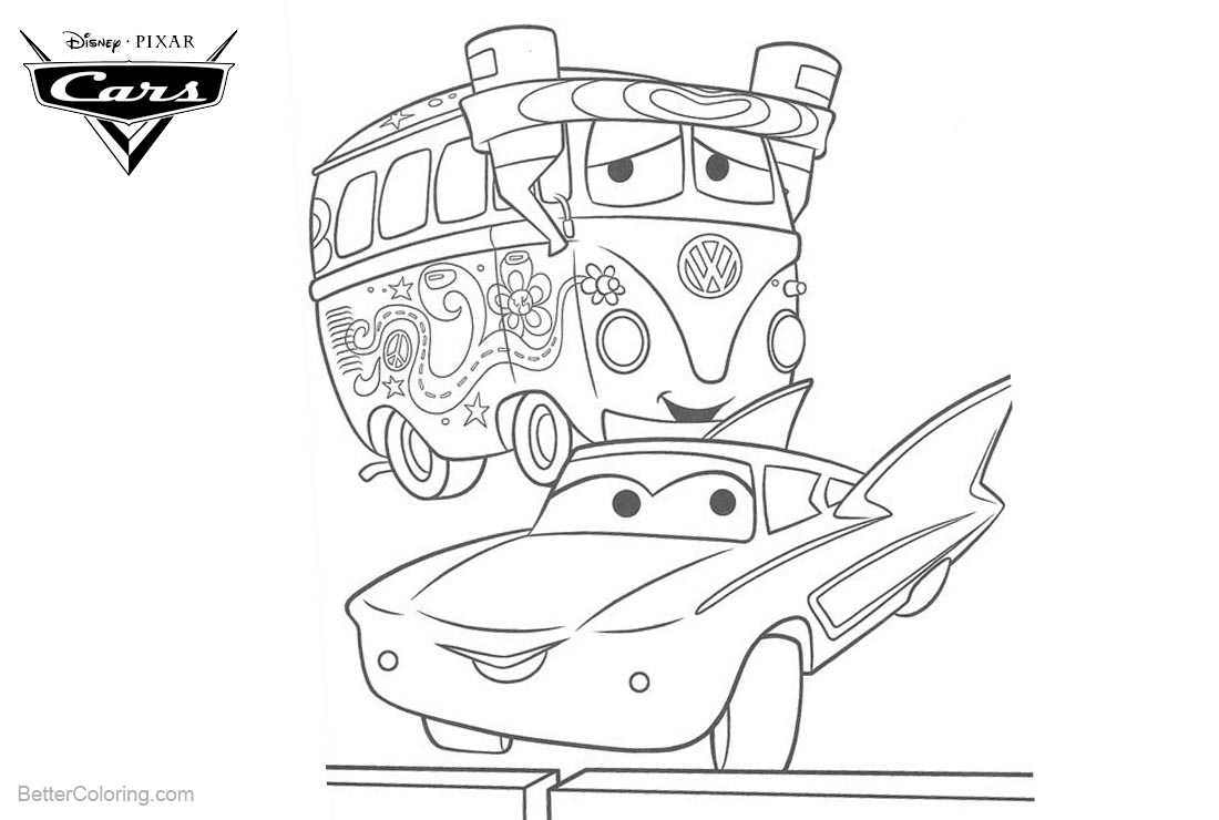Cars Pixar Coloring Pages Fillmore and Lighting McQueen printable for free