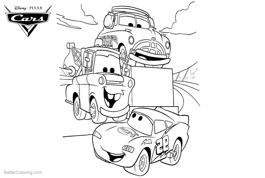 Cars pixar coloring pages lightning mcqueen luigi and tow for Lightning mcqueen and friends coloring pages