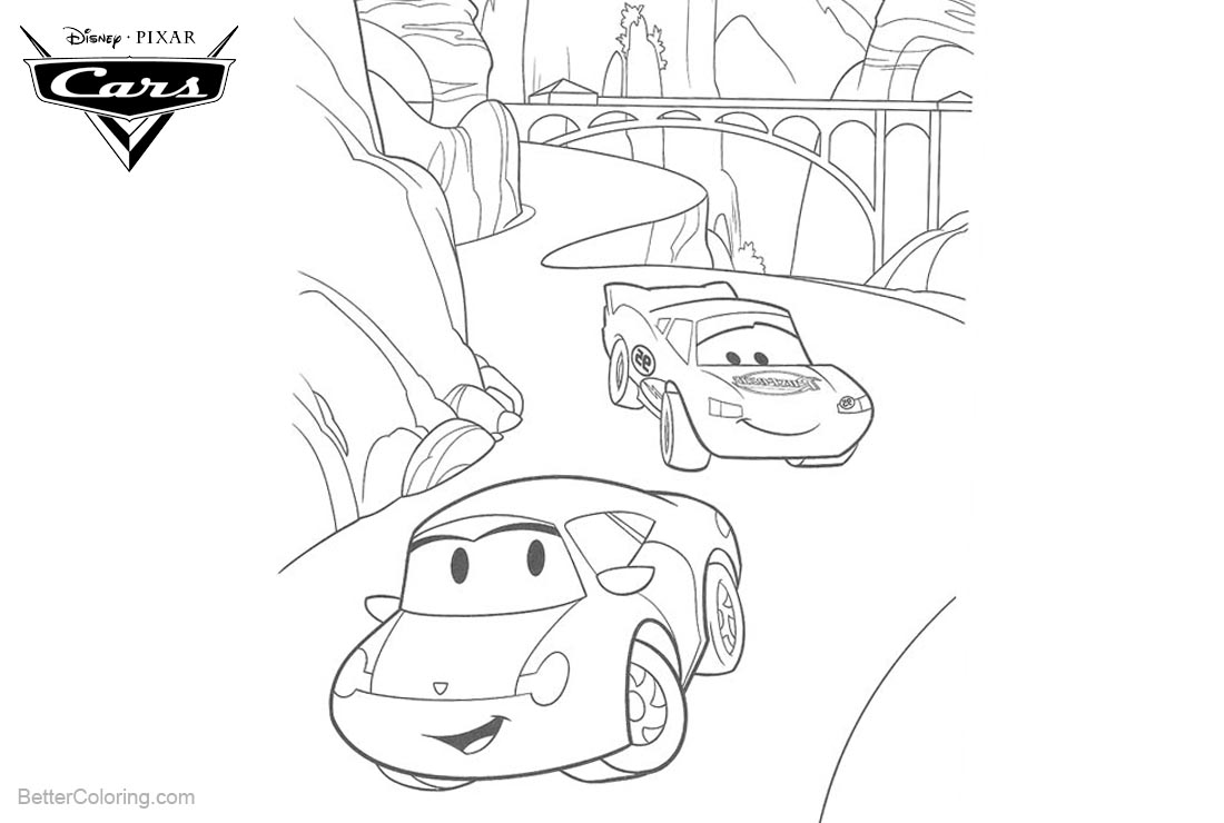 Cars Pixar Coloring Pages Lightning McQueen and Friends printable for free