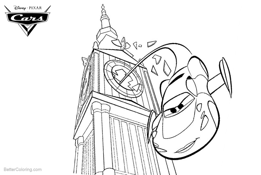 Cars pixar coloring pages lightning mcqueen in london for Lightning mcqueen and friends coloring pages