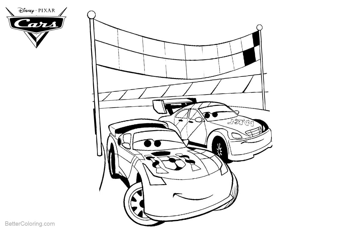 Cars Pixar Coloring Pages Line Art printable for free