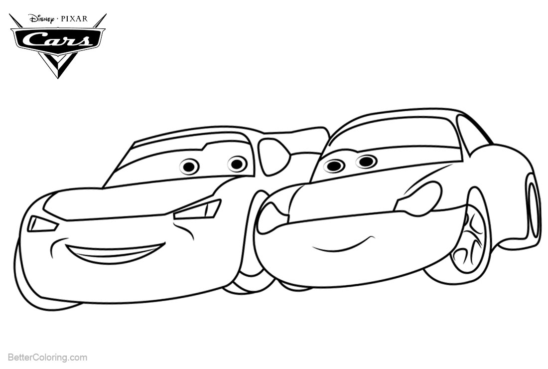 Cars Pixar Coloring Pages Mia and Tia printable for free