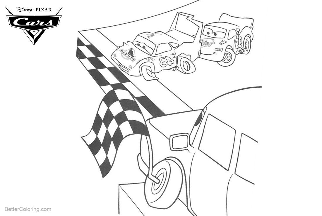 Cars Pixar Coloring Pages Racing Failed printable for free