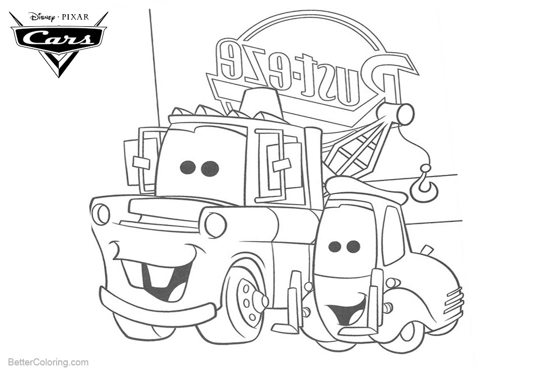 Cars Pixar Coloring Pages Rust Eze printable for free