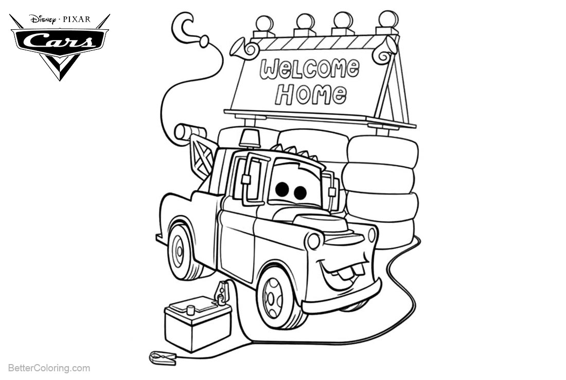 Cars Pixar Coloring Pages Tow Mater House printable for free