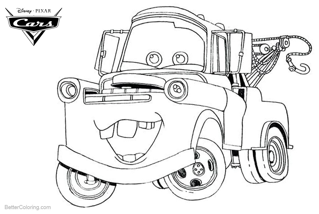 Cars Pixar Coloring Pages Tow Mater Free Printable