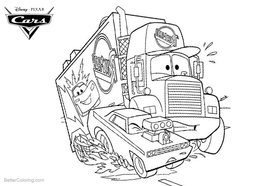 Cars Pixar Coloring Pages Truck printable for free