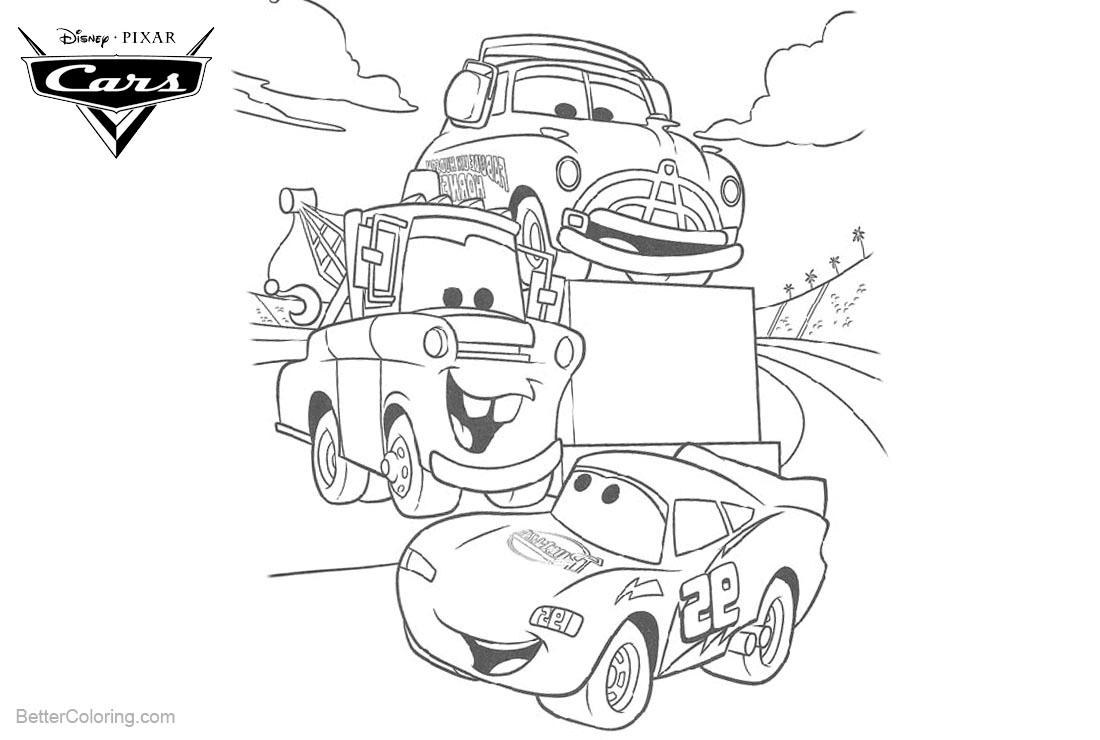 Cars Pixar Coloring Pages Uncle Topolino is Winner printable for free