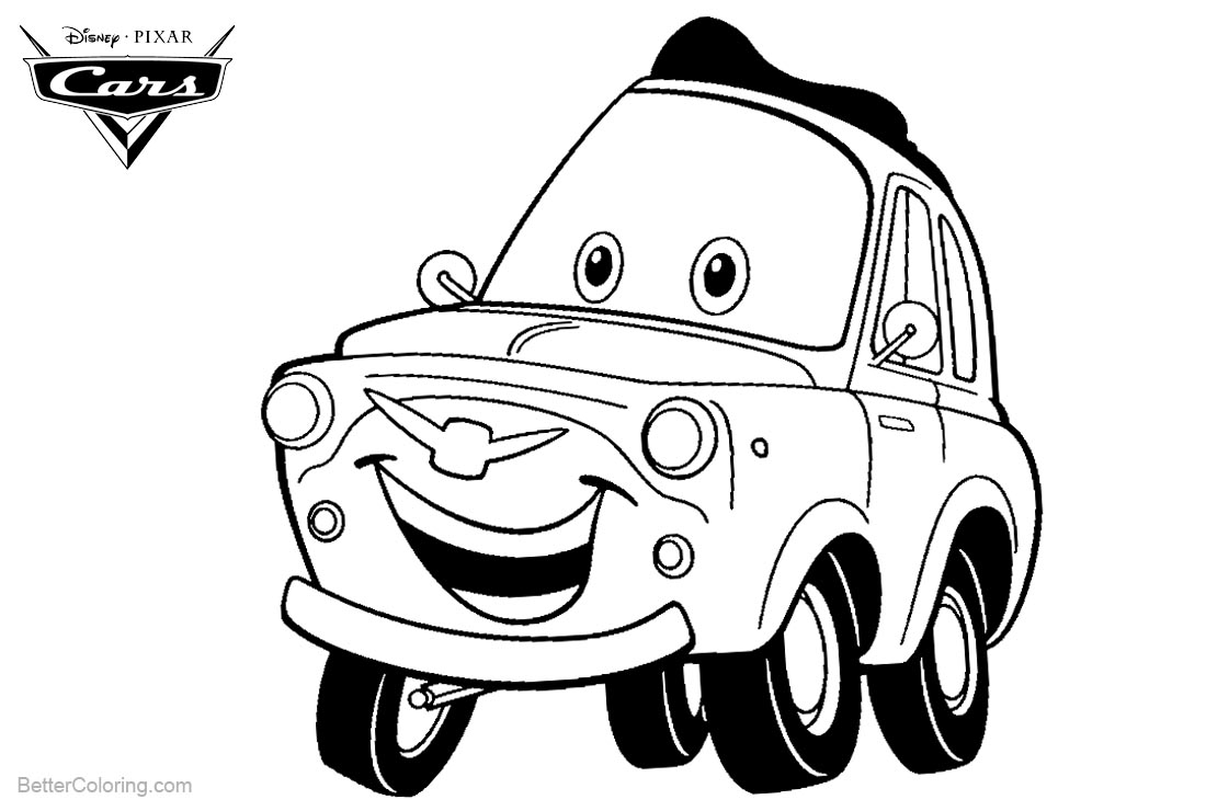 Cars Pixar Luigi Coloring Pages printable for free